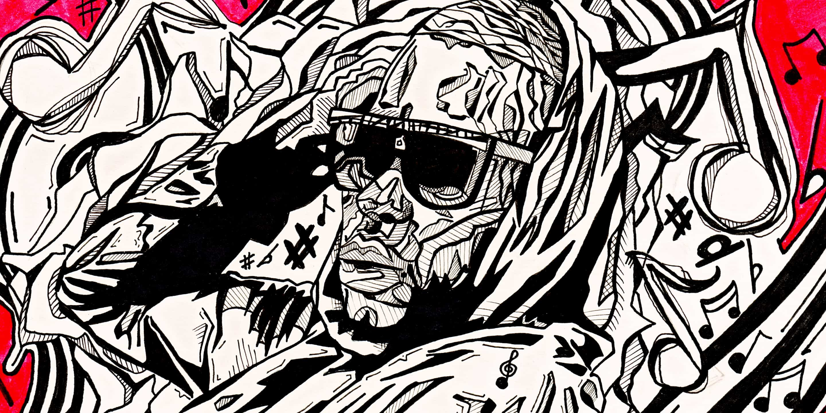 Hand drawn artwork that was not used for album artwork for the musician Refixx Jones, drawn by PixelsPencil in May 2011